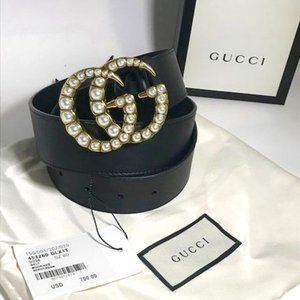 ☀Gucci Leather belt with pearl Double;''' GG..95CM